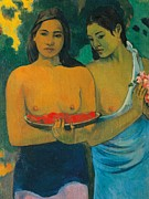 Skin Painting Posters - Tahiti Two Tahitian women Poster by Paul Gauguin