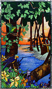 Tropical Scene Glass Art - Tahiti Window by Peter Piatt