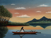 Canoe Mixed Media Prints - Tahitian Morning Print by Gordon Beck