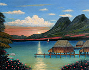 Sailboat Ocean Paintings - Tahitian Sunset by Gordon Beck