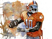 Football Mixed Media Acrylic Prints - Tahj Boyd Acrylic Print by Michael  Pattison