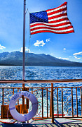 Waving Flag Framed Prints - Tahoe Queen Lake Tahoe Framed Print by Diana Sainz