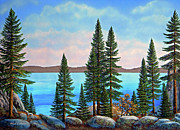 Pines Framed Prints - Tahoe Shore Framed Print by Frank Wilson