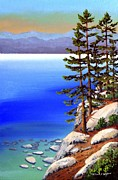 Lake Tahoe Paintings - Tahoe Shore Pines by Frank Wilson