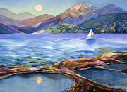 Moon Paintings - Tahoe Tides by Jen Norton