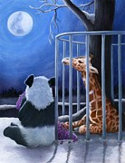 Panda Mixed Media - Tai Shan and Miss Sniffy the Giraffe by Tabitha Benedict Aaron