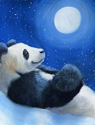 Panda Mixed Media - Tai Shan under the Moon by Tabitha Benedict Aaron