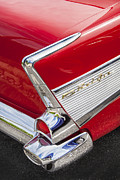 Car Racer Art - Tail Fins Are In 1957 Chevy by Rich Franco