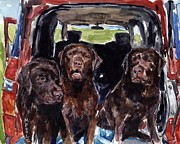 Labrador Retrievers Posters - Tailgaters Poster by Molly Poole