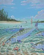 Atlantis Painting Prints - Tailing Bonefish In003 Print by Carey Chen