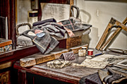 Sewing Room Posters - Tailors Work Bench Poster by Heather Applegate