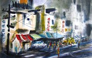 Asian Market Paintings - Taiwan Street by Marc L Gagnon