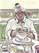 Texting Drawings Prints - Taj Breakfast Print by Jean Pacheco Ravinski