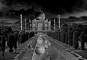 Mahal Digital Art Posters - Taj Mahal by Moonlight Poster by David Murphy