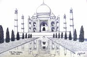 Historic Buildings Images Drawings Framed Prints - Taj Mahal Framed Print by Frederic Kohli