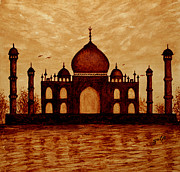 Silhouette Painting Posters - Taj Mahal Lovers Dream original coffee painting Poster by Georgeta  Blanaru