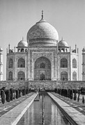 World Wonder Posters - Taj Mahal monochrome Poster by Steve Harrington