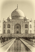 Tomb Photos - Taj Mahal sepia by Steve Harrington