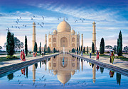 Marble Digital Art Prints - Taj Mahal Print by Steve Crisp