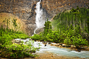 Canadian Nature Scenery Prints - Takakkaw Falls waterfall in Yoho National Park Canada Print by Elena Elisseeva