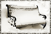 Nature Scene Mixed Media Prints - Take A Seat  And Chill Out - Park Bench - Winter - Snow Storm BW 2 Print by Andee Photography