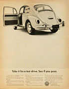 Volkswagen Beetle Framed Prints - Take it for a Test Drive Framed Print by Nomad Art And  Design
