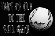 Baseball Closeup Photo Metal Prints - Take Me Out To The Ball Game - Baseball Season - Sports - B W 2 Metal Print by Andee Photography