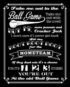 Take-out Digital Art Prints - Take Me Out To The Ball Game - Black Background Print by Ginny Gaura