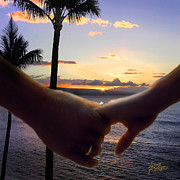 Tropical Sunset Digital Art Prints - Take My Hand Print by Doug Kreuger
