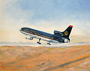 Jordan Paintings - Take off from Queen Alia airport by Art Cox