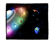 Space Themed Nursery Framed Prints - Taken Away by Alien Pigs Framed Print by Star Mudersbach