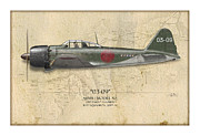 Zero Digital Art - Takeo Tanimizu A6M Zero - Map Background by Craig Tinder