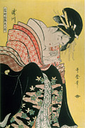 Woodblock Posters - Takigawa from the Tea House Ogi Poster by Kitagawa Otamaro