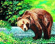 Chicago Bears Paintings - Takin in the Rays by Jayne Kerr