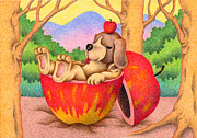 Fruit Tree Art Drawings - Taking a nap by T Koni