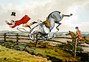 Hunters Posters - Taking a Tumble from Qualified Horses and Unqualified Riders Poster by Henry Thomas Alken