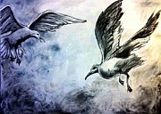 Seagull Drawings Originals - Taking Flight by Melissa Rubin
