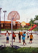 Basketball Paintings - Taking His Shot by Cecile Hines