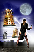 Dr. Who Digital Art Framed Prints - Taking on the Daleks Framed Print by Linton Hart