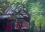 Wooden Cabin Paintings - Taking Over the Old Barn  by Eloise Schneider