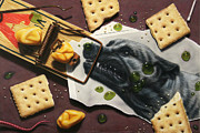 Still Life Mixed Media Metal Prints - Taking the Bait Metal Print by James W Johnson
