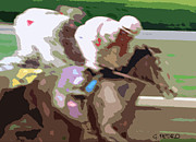 Kentucky Derby Prints - Taking the Lead Abstract Painting Print by George Pedro