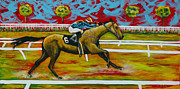 Jockey Paintings - Taking the Lead by Eve  Wheeler