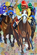 Kentucky Derby Mixed Media Prints - Taking The Lead Print by Michael Lee