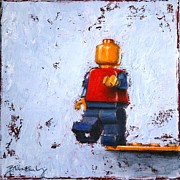 Lego Painting Framed Prints - Taking the Leap Framed Print by Blanche Guernsey