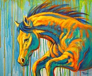 Abstract Equine Paintings - Taking the Leap by Theresa Paden