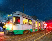 Boston Digital Art Metal Prints - Taking The T At Night In Boston Metal Print by Mark E Tisdale