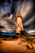 Coastal Digital Art Framed Prints - Talacre Lighthouse Framed Print by Adrian Evans
