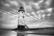 Talacre. Landmark Prints - Talacre Lighthouse Monochrome Print by Christine Smart