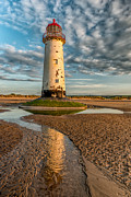 British Digital Art Prints - Talacre Lighthouse Sunset Print by Adrian Evans